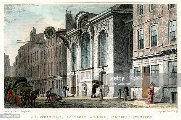 Church of St Swithin and the London Stone Cannon Street City of London c1830 Said to be the spot from which the Romans measured all distances in...