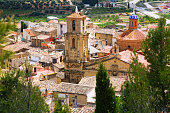 Church of the Assumption in sunny summer time. Calaceite,  Teruel