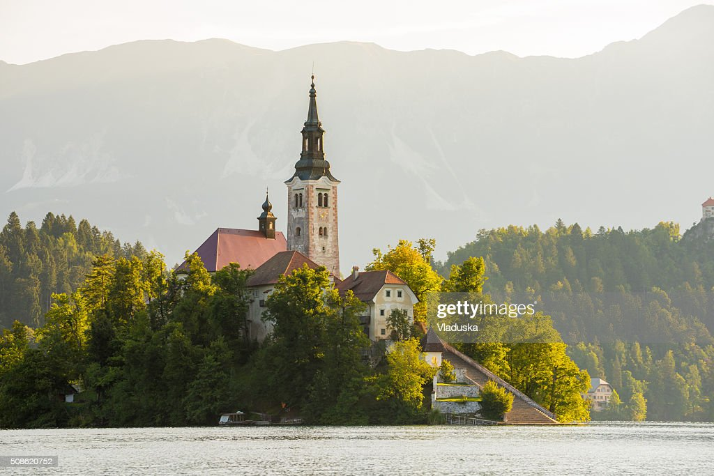 Church on Island on Bled Lake in Slovenia : Stock Photo