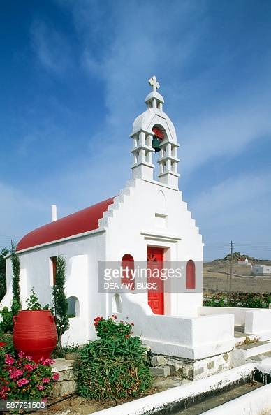 A church on the island of Mykonos Cyclades Islands Greece