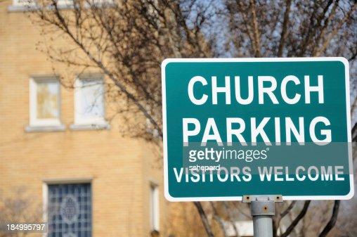 Church parking vistors welcome sign