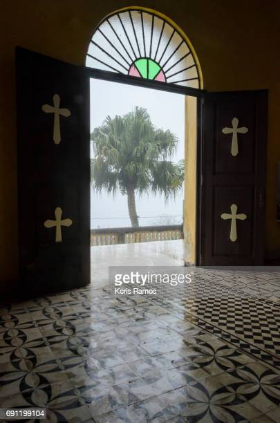 Church portal, with tree in cloudy day with haze in paranapiacaba in São Paulo in Brazil