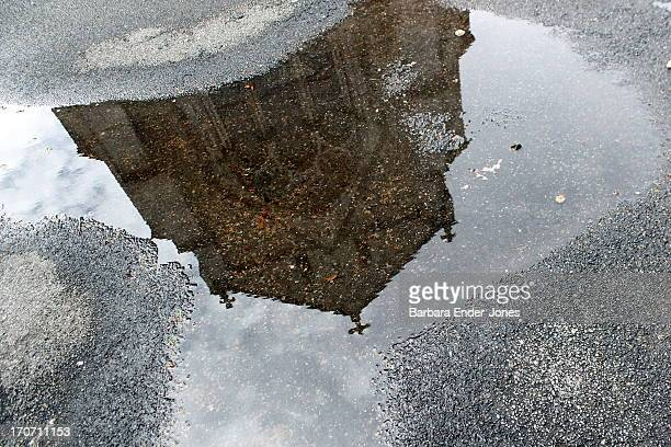 church reflected in puddle