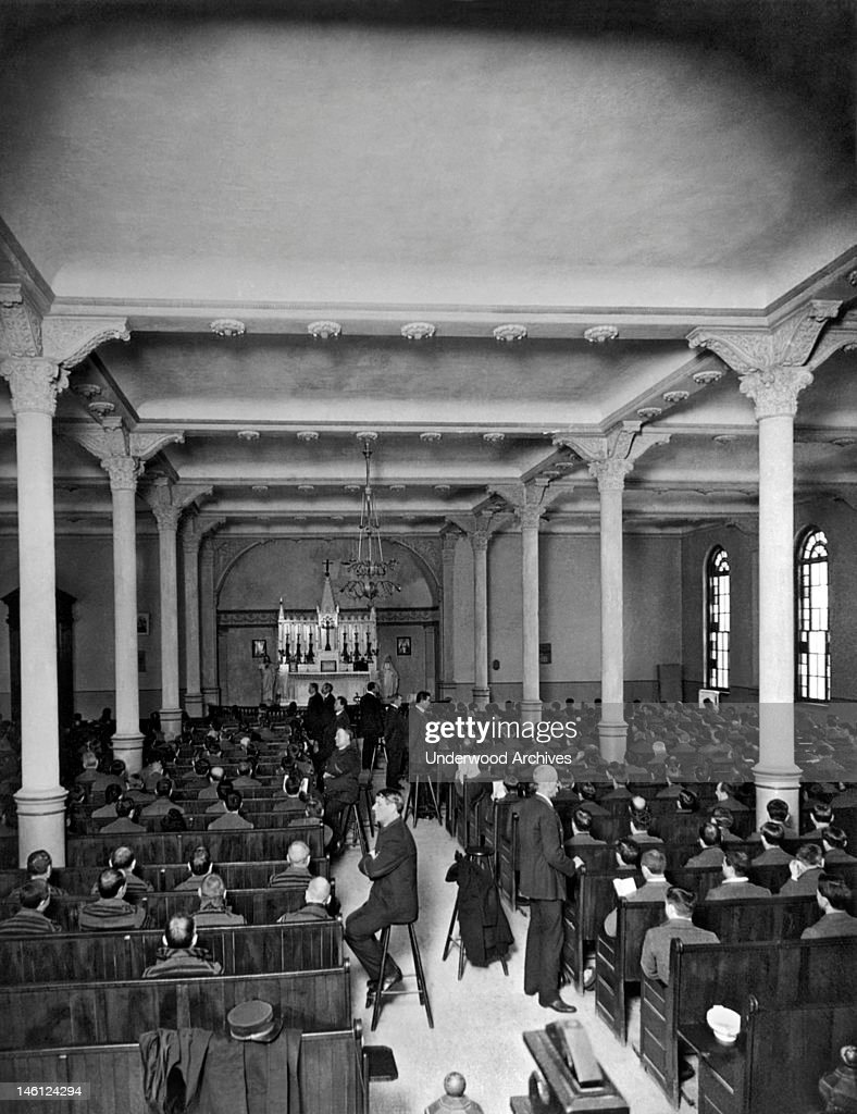Church service in SingSing prison where the ushers are the guards Ossining New York 1906