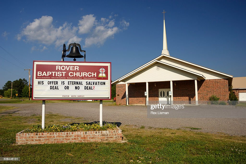 Church sign in front of Rover Baptist church in Rover Arkansas