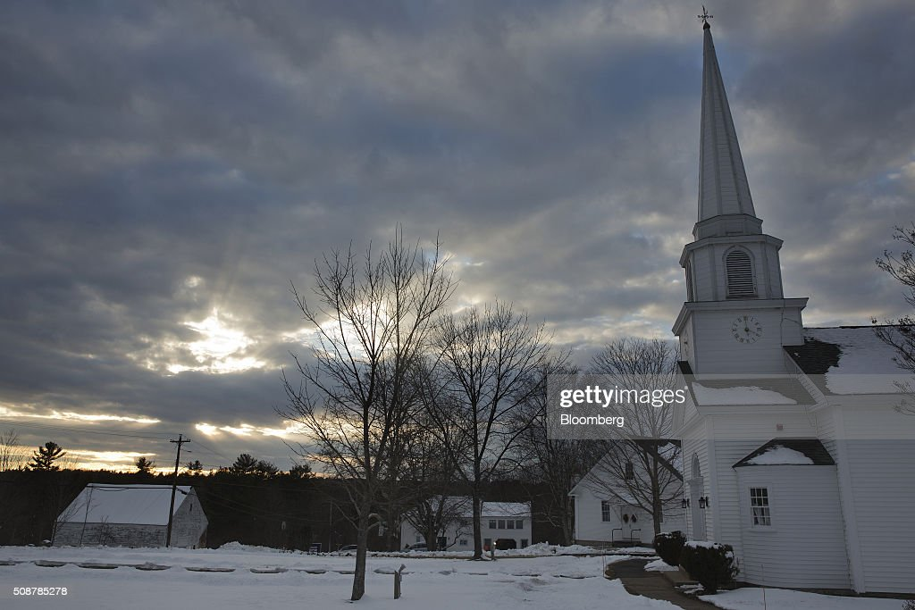 A church sits covered in snow in Canterbury, New Hampshire, on Saturday, Feb. 6, 2016. On Tuesday, voters in New Hampshire will cast their ballots in the nation's first political primary of the election season. Photographer: Victor J. Blue/Bloomberg via Getty Images