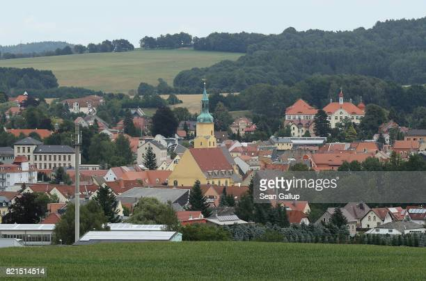 A church stands as a landmark in the town center near farmland on July 24 2017 in Pulsnitz Germany Linda W a German teenager from Pulsnitz was...