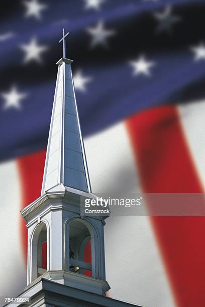 Church steeple with American flag