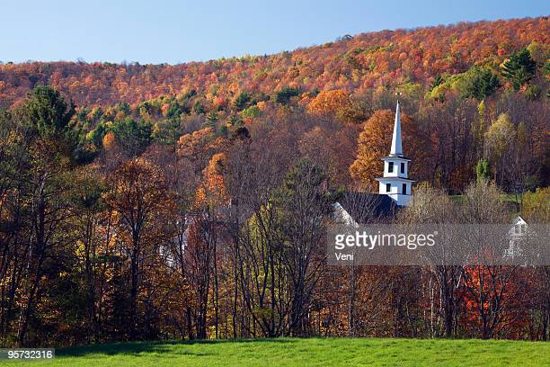 Church surrounded by Autumn foliage, Vermont