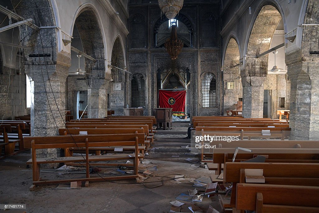 A church that was partially destoyed by Islamic State is pictured during the offensive to recapture the city of Mosul from Islamic State militants, on October 23, 2016 in Bartella, Iraq. Despite stiff opposition, Iraqi and Kurdish forces have continued advancing towards Iraq's second largest city of Mosul and are now within 5 miles of the city where ISIS fighters have spent months building elaborate defences in anticipation of the offensive.