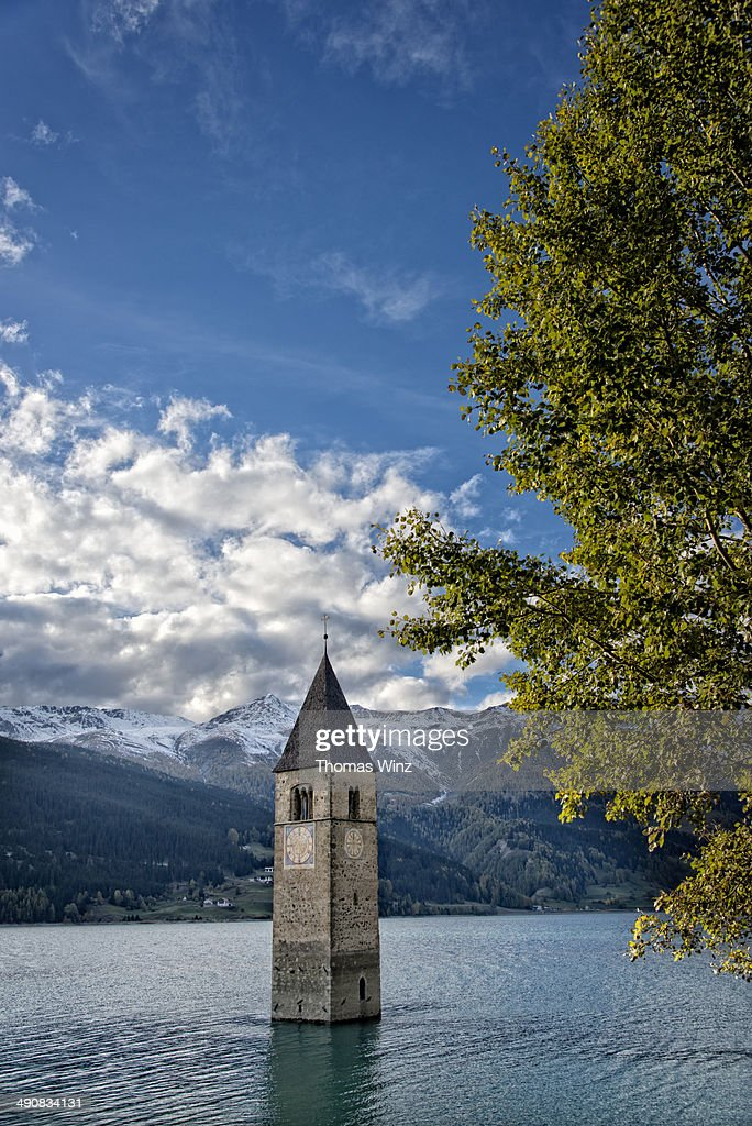 In the 1950s, a the behest of a power company, the decision was made to flood the valley floor in this area of Italy's South Tyrol region, creating Reschensee. While much of the village was removed, a church bell tower was permitted to remain, and is still visible today.