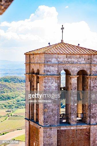 Church tower in Pienza : Stock-Foto