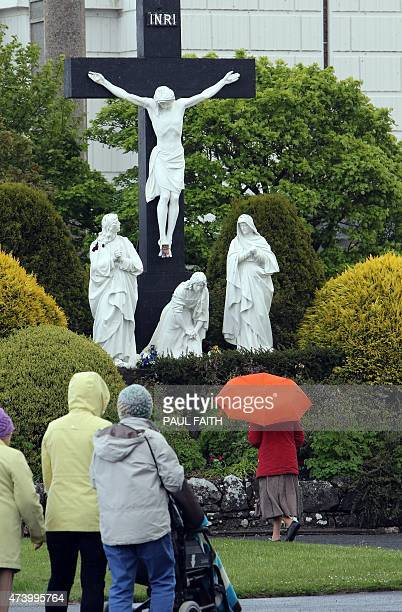 Churchgoers arrive to visit the Knock Shrine in Knock west Ireland on May 18 2015 In the village of Knock in the west of Ireland support for a 'No'...