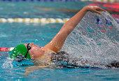 Churchhill's Hannah Lindsey wins he girls 100 meter backstroke in the Washington Metropolitan Interscholastic Swimming and Diving Championships in...