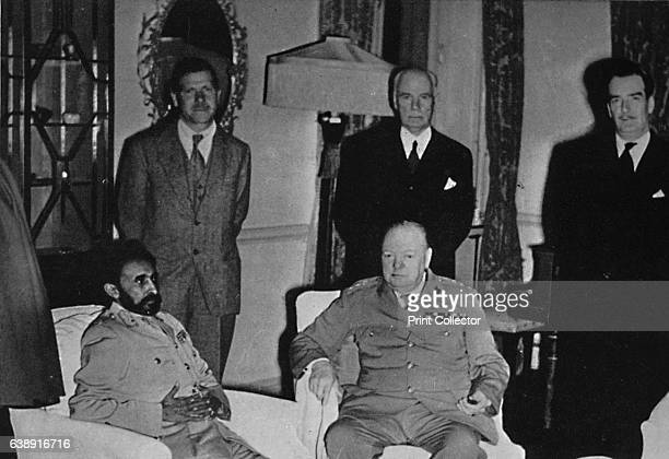 Churchill in Cairo with Ethiopian Emperor Haile Selassie' Sir Winston Churchill with Haile Selassie during the former's visit to Cairo on his way...