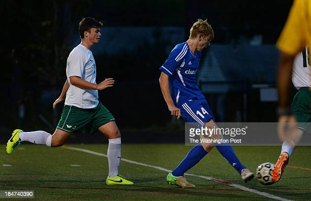 Churchill's JJ Van Der Merwe shoots the ball for a goal during the game at Walter Johnson High School on Tuesday October 15 2013 Churchill defeated...