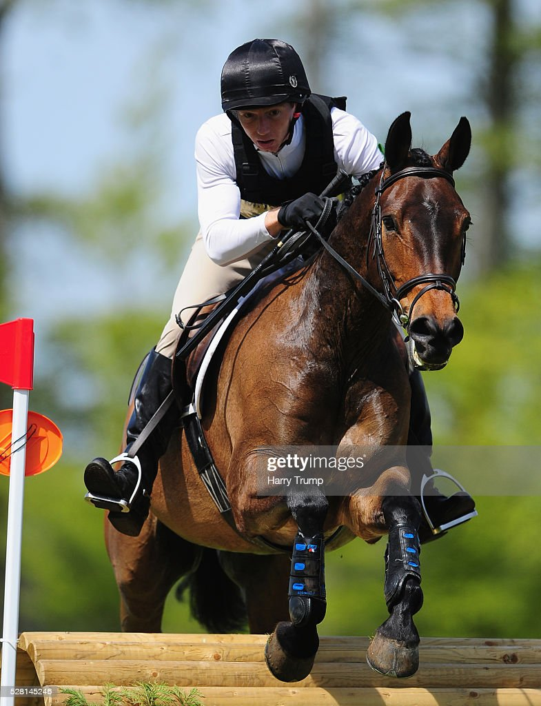 Churchside Reflection ridden by James Pratt make their way around the course during the Mitsubishi Motors Cup Cross Country Race during Day One of the Badminton Horse Trials on May 4, 2016 in Badminton, United Kindom.