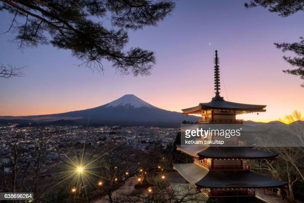 Chureito Pagoda and Mt. Fuji at dusk, Fujiyoshida, Japan