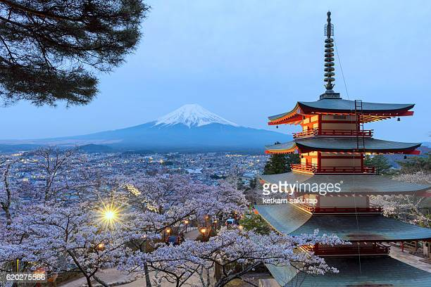 Chureito Pagoda and Mt. Fuji with Cherry blossom at dusk, Fujiyoshida, Japan