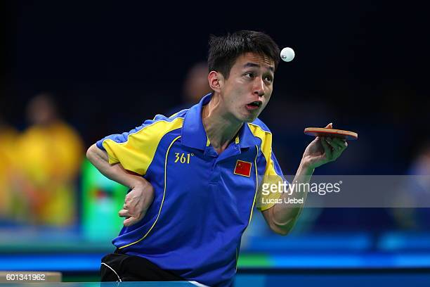 Churn Sun of China competes in the men's singles Table Tennis Class 3 on day 2 of the Rio 2016 Paralympic Games at Riocentro Pavilion 3 on September...