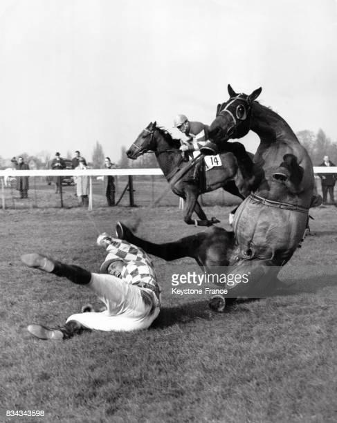 Chute d'un cheval et de son jockey lors du steeplechase au RoyaumeUni le 16 mars 1962