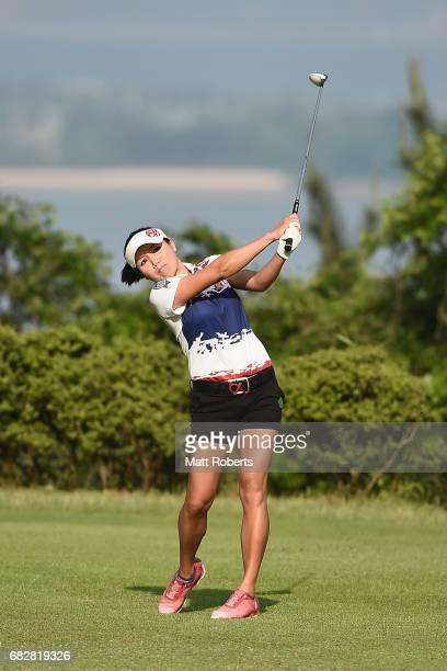 Chutichai of Thailand hits her tee shot on the 2nd hole during the final round of the HokennoMadoguchi Ladies at the Fukuoka Country Club Wajiro...