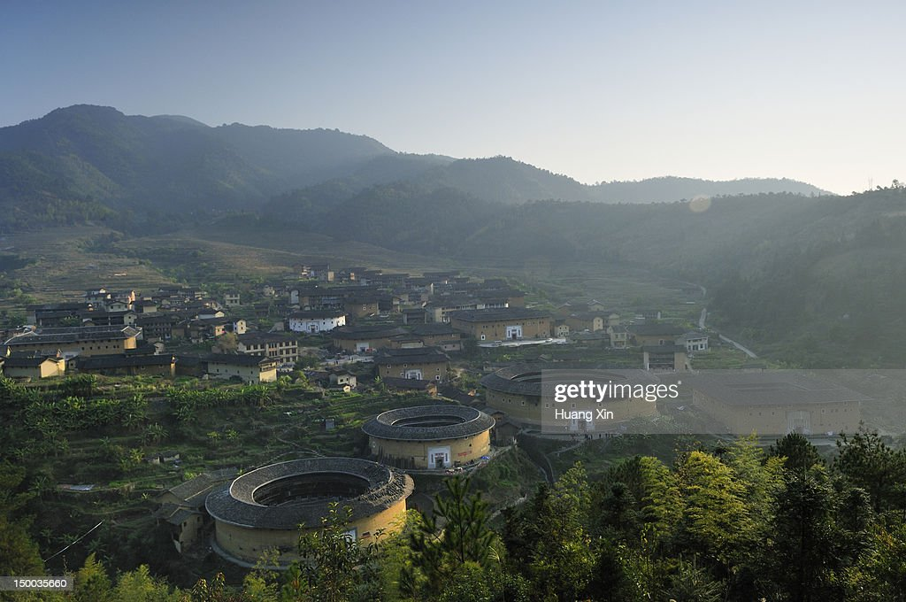 Chuxi Tulou Cluster at sunset