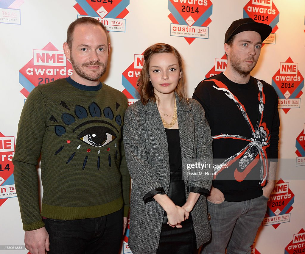 Chvrches attend the annual NME Awards at Brixton Academy on February 26, 2014 in London, England.