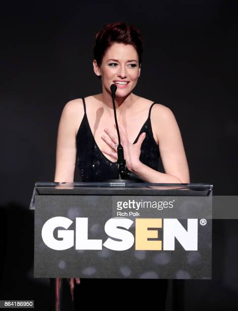 Chyler Leigh speaks onstage during the 2017 GLSEN Respect Awards at the Beverly Wilshire Hotel on October 20 2017 in Los Angeles California