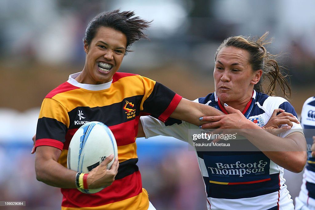 Chyna Hohepa of Waikato makes a break against Auckland during the National Rugby Sevens at Queenstown Recreation Ground on January 12, 2013 in Queenstown, New Zealand.