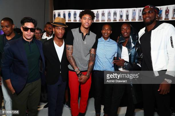 Chyno Miranda Jon Batiste KellyÊOubre designer DonradÊDuncan Young Paris and Kenneth Faried attend the EFM Engineered For Motion Spring/Summer 2018...
