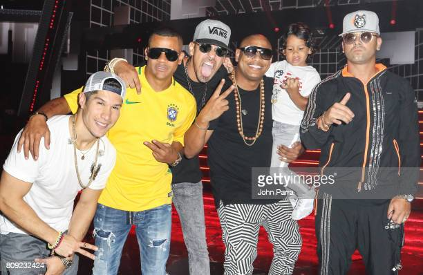 Chyno Miranda Randy Malcolm Motiff Alexander Delgado and Wisin backstage during Univision's 'Premios Juventud' 2017 Celebrates The Hottest Musical...