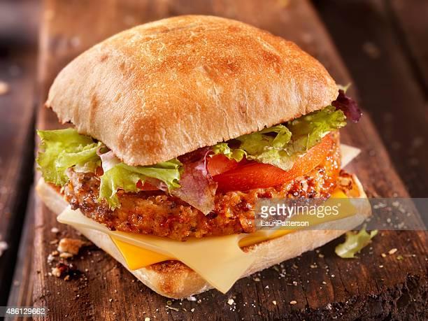 Ciabatta Cheeseburger with Tomatoes and Mixed Greens