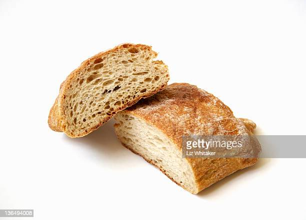 Ciabatta loaf against white background