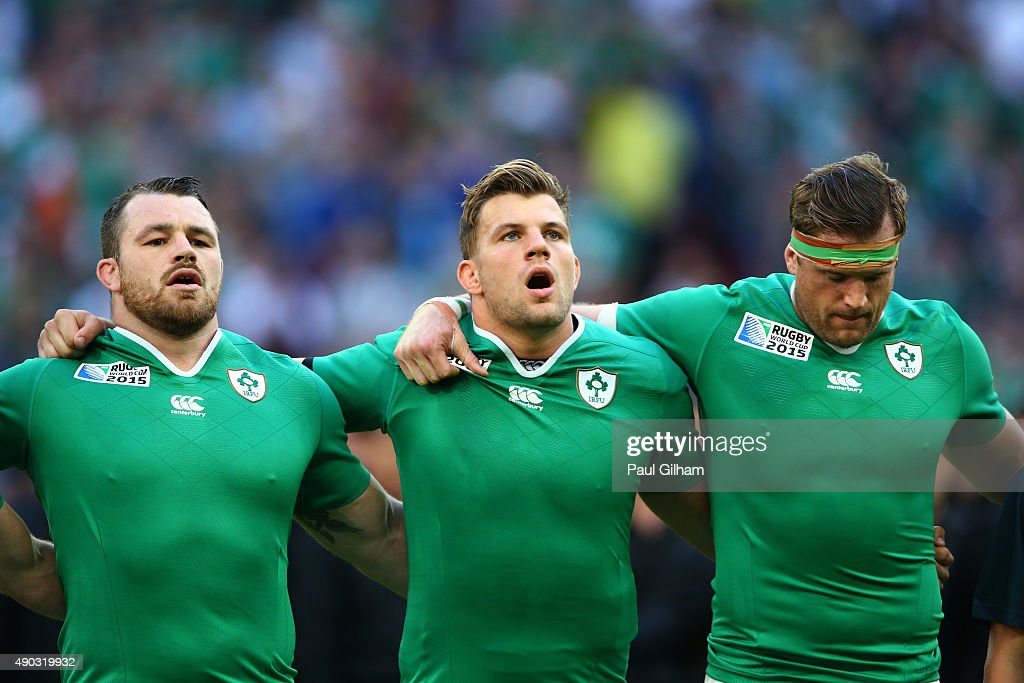 Cian Healy Jordi Murphy and Jamie Heaslip of Ireland line up for the 2015 Rugby World Cup Pool D match between Ireland and Romania at Wembley Stadium...