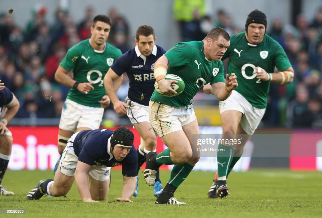 Cian Healy of Ireland charges upfield during the RBS Six Nations match between Ireland and Scotland at the Aviva Stadium on February 2 2014 in Dublin...