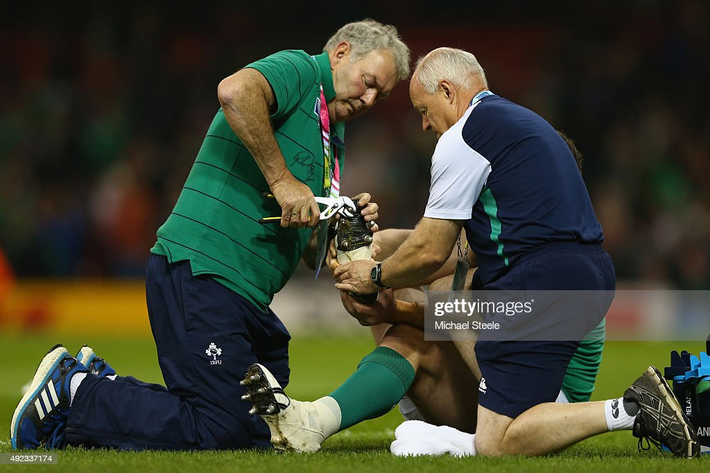 Cian Healy of Ireland has his studs tightened during the warm up ahead of the 2015 Rugby World Cup Pool D match between France and Ireland at...