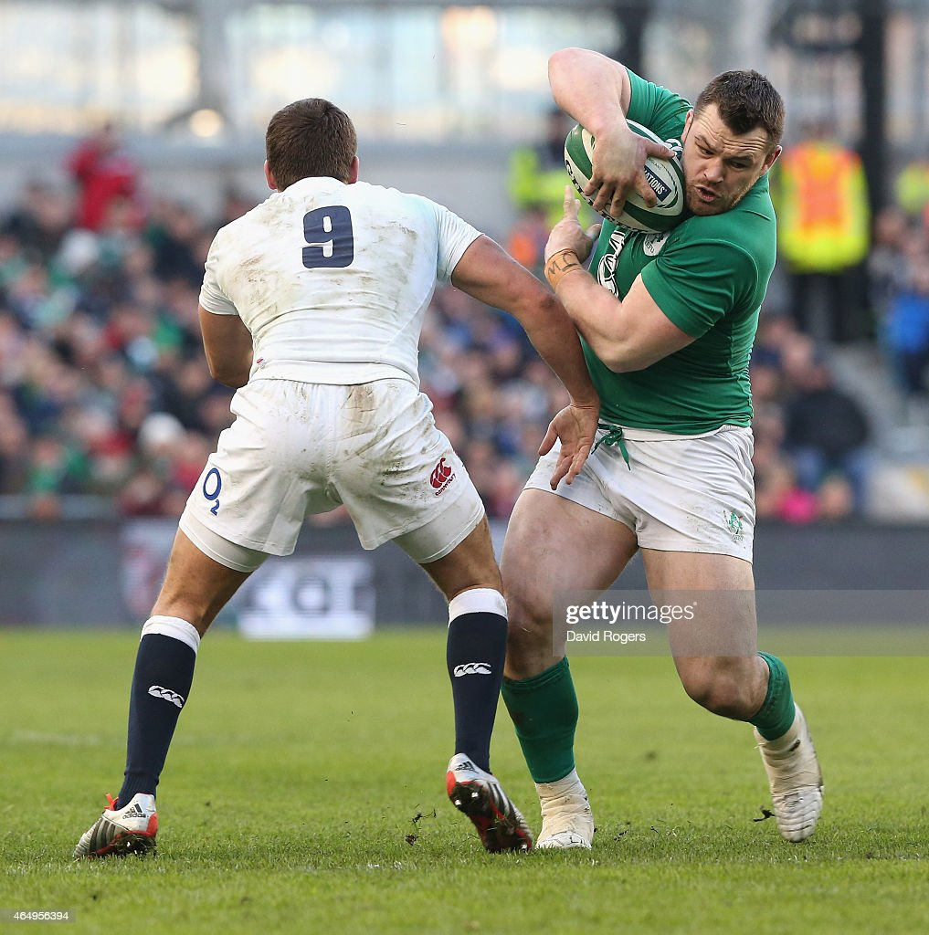 <a gi-track='captionPersonalityLinkClicked' href=/galleries/search?phrase=Cian+Healy&family=editorial&specificpeople=4166531 ng-click='$event.stopPropagation()'>Cian Healy</a> of Ireland takes on <a gi-track='captionPersonalityLinkClicked' href=/galleries/search?phrase=Ben+Youngs&family=editorial&specificpeople=3970947 ng-click='$event.stopPropagation()'>Ben Youngs</a> during the RBS Six Nations match between Ireland and England at the Aviva Stadium on March 1, 2015 in Dublin, Ireland.