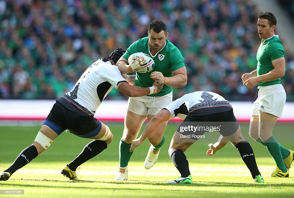 Cian Healy of Ireland takes on the Romania defence during the 2015 Rugby World Cup Pool D match between Ireland and Romania at Wembley Stadium on...