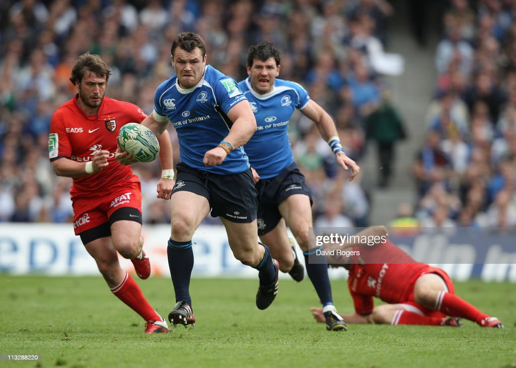 Cian Healy of Leinster charges upfield during the Heineken Cup semi final match between Leinster and Toulouse at Aviva Stadium on April 30 2011 in...