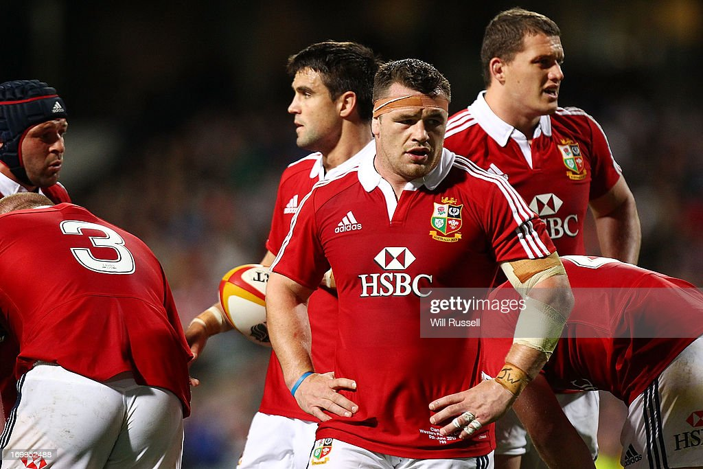 <a gi-track='captionPersonalityLinkClicked' href=/galleries/search?phrase=Cian+Healy&family=editorial&specificpeople=4166531 ng-click='$event.stopPropagation()'>Cian Healy</a> of the British & Irish Lions looks on during the tour match between the Western Force and the British & Irish Lions at Patersons Stadium on June 5, 2013 in Perth, Australia.