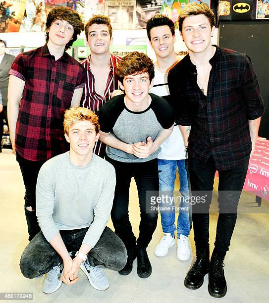 Cian Morrin Dayl Cronin Dean Gibbons Josh Gray Ryan McLoughlin and Brendan Murray of HomeTown meet fans and sign copies of their new single 'Where I...