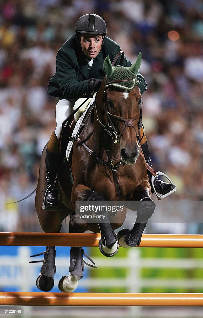 Cian O'Connor of Ireland rides Waterford Crystal in the individual show jumping event on August 27, 2004 during the Athens 2004 Summer Olympic Games at the Markopoulo Olympic Equestrian Centre Jumping Arena in Athens, Greece.