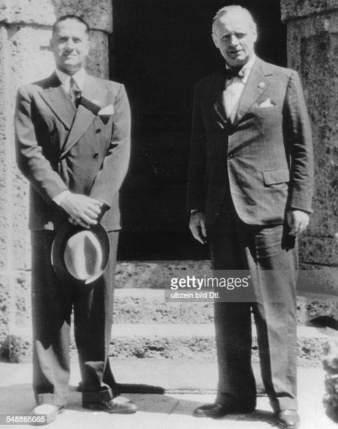Ciano Galeazzo Politician Italy * Foreign Minister Ciano on a visit to Fuschl Ciano and a Foreign Minister of Germany Joachim v Ribbentrop in the...