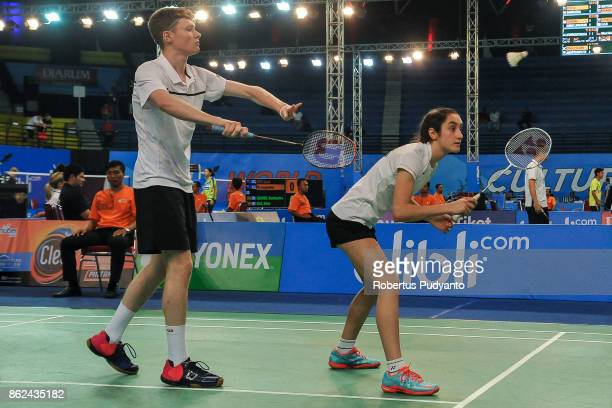 Ciar Pringle and Rachel Sugden of Scotland compete against Jan Janostik and Lucie Krpatova of Czech Republic during Mixed Double qualification round...