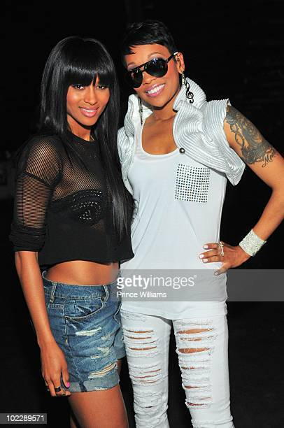 Ciara and Monica backstage at Philips Arena on June 19 2010 in Atlanta Georgia
