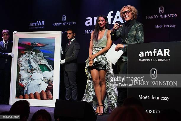 Ciara and Peter Dundas are seen at amfAR Milano 2015 at La Permanente on September 26 2015 in Milan Italy