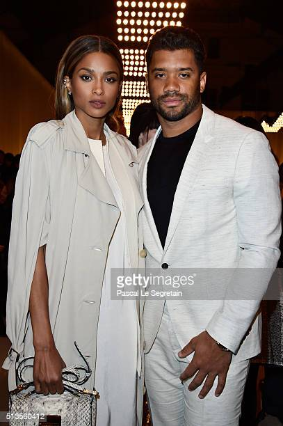 Ciara and Russel Wilson attend the Lanvin show as part of the Paris Fashion Week Womenswear Fall/Winter 2016/2017 on March 3 2016 in Paris France