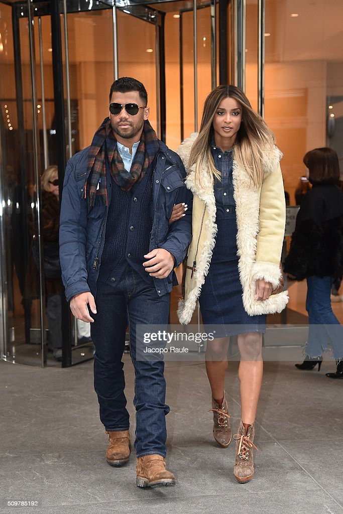 Ciara and Russell Wilson are seen leaving the Polo Ralph Lauren presentation during Fall 2016 New York Fashion Week on February 12, 2016 in New York City.