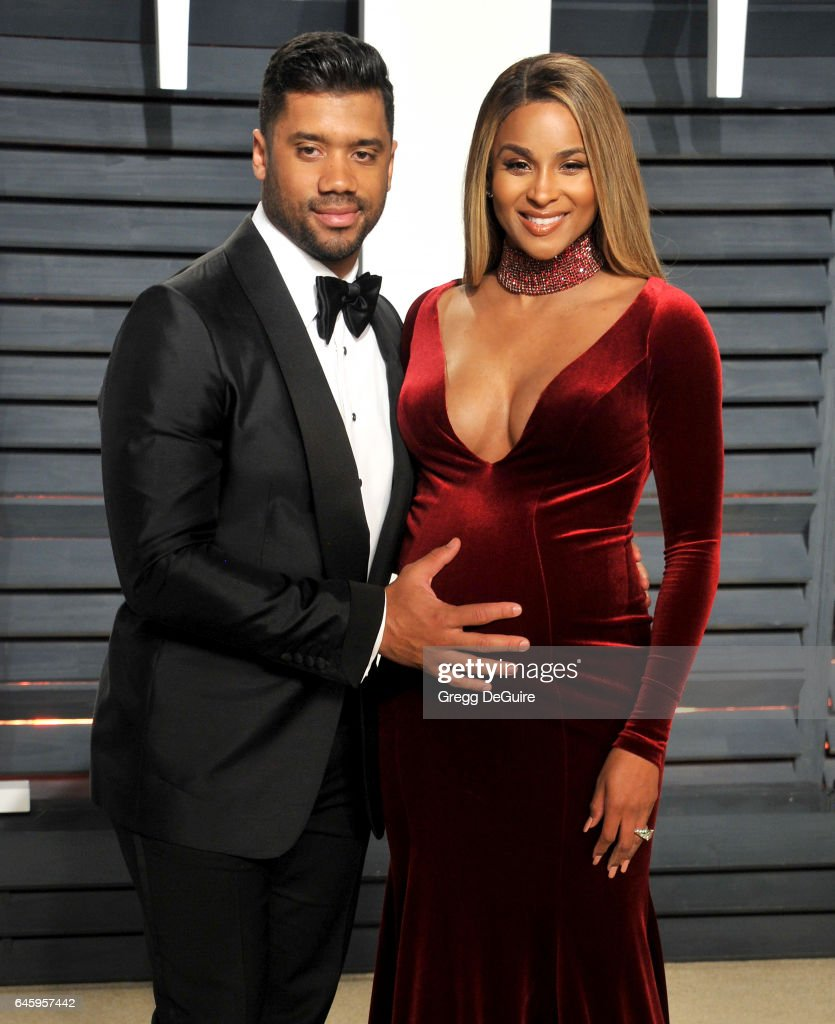 Ciara and Russell Wilson arrive at the 2017 Vanity Fair Oscar Party Hosted By Graydon Carter at Wallis Annenberg Center for the Performing Arts on February 26, 2017 in Beverly Hills, California.